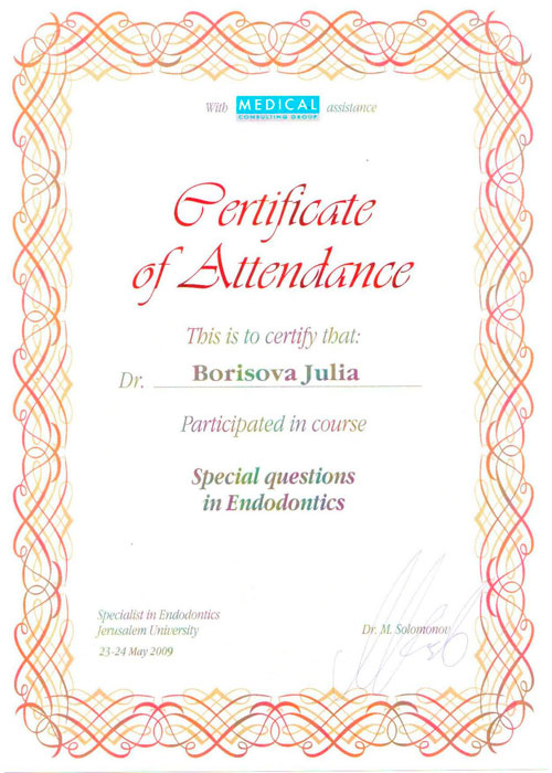 Май 2009 г. Special questions in Endodontics